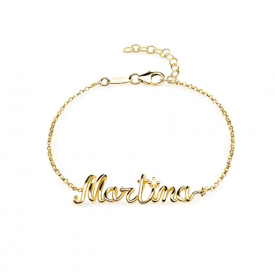 Bracciale nome a filo in argento placcato oro 18k
