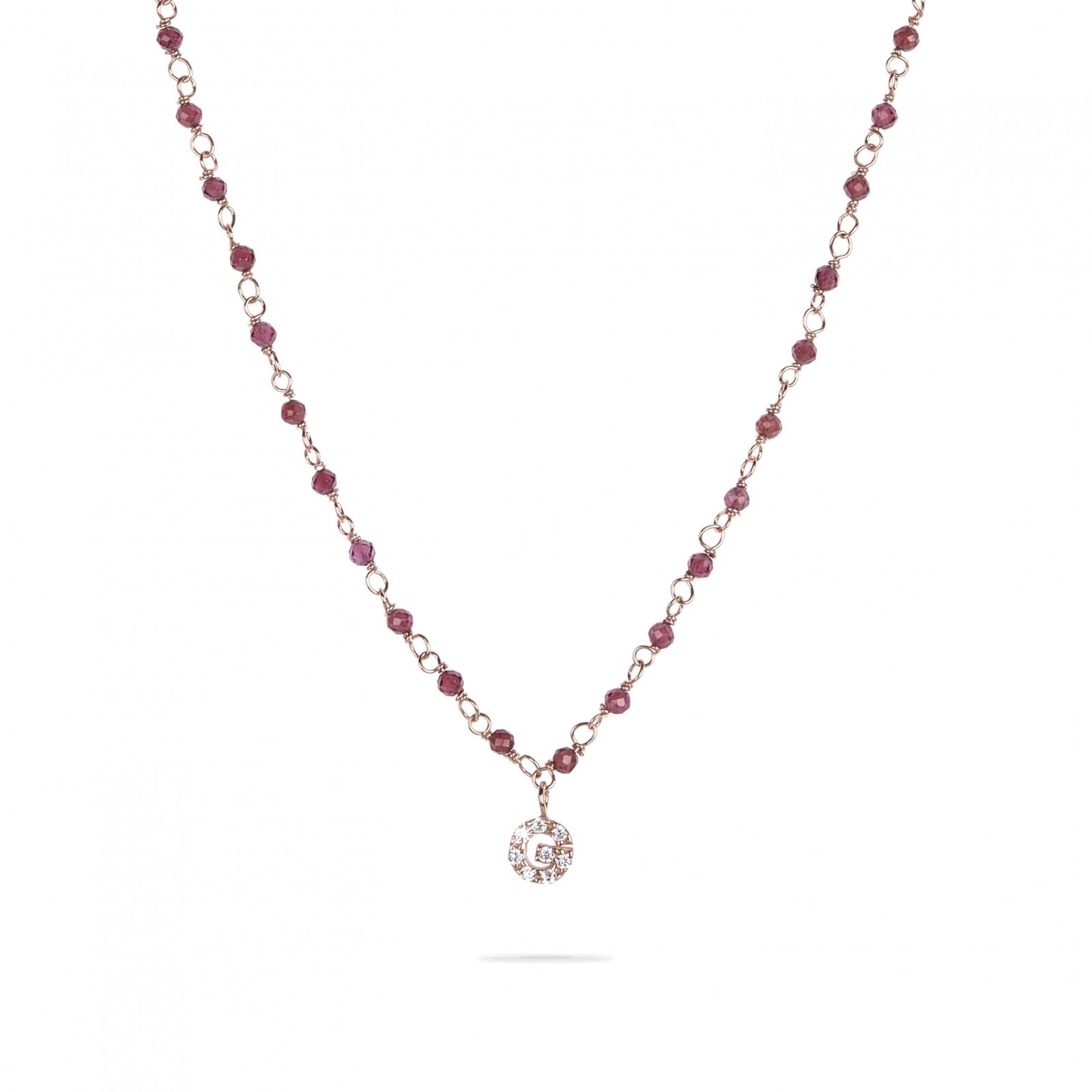 l'atteggiamento migliore cb4fc 044df Necklace with natural stones and initial small pave '