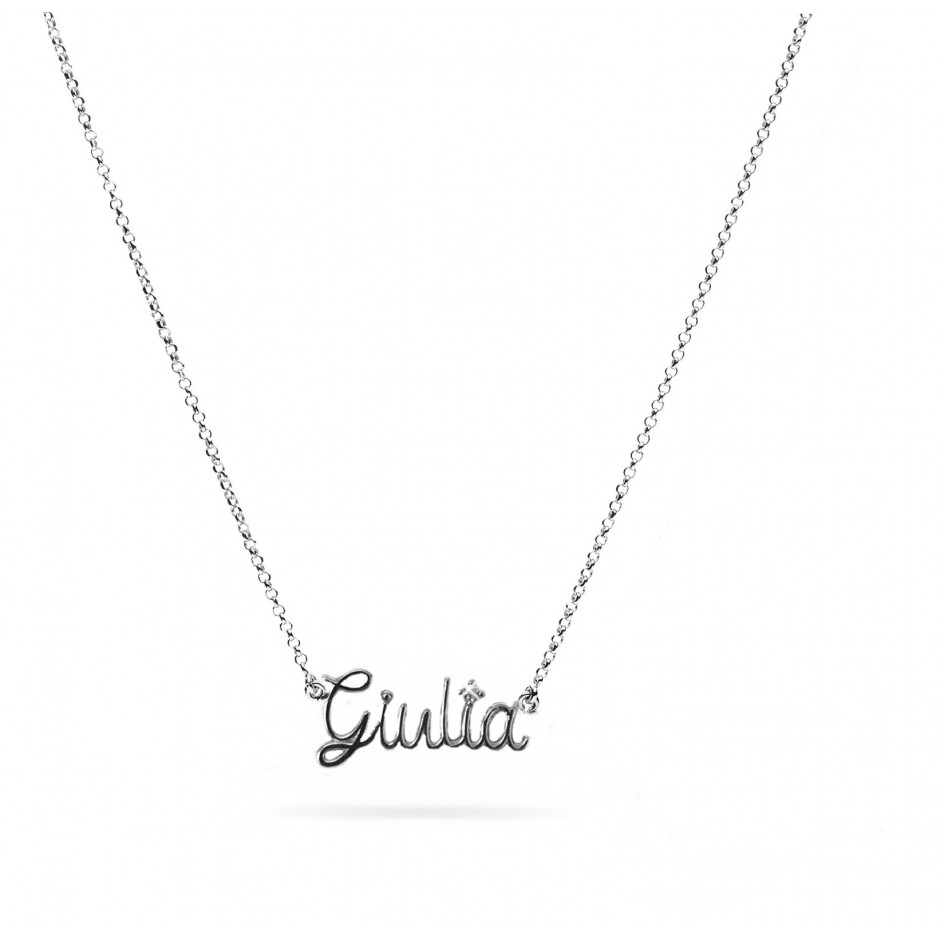 Necklace with wire name, in 925 silver, 18k white gold plated