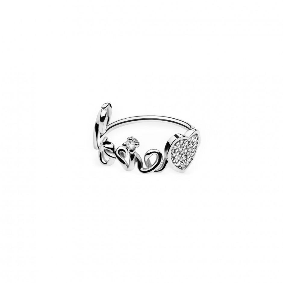 Anello con nome a filo in argento placcato oro 18k e simbolo pavè zirconi