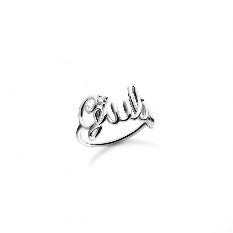 design raffinato sconto del 50 acquista il più recente Ring with name, in 925 silver, 18k white gold plated and zircon - Maison  Gioielli ®
