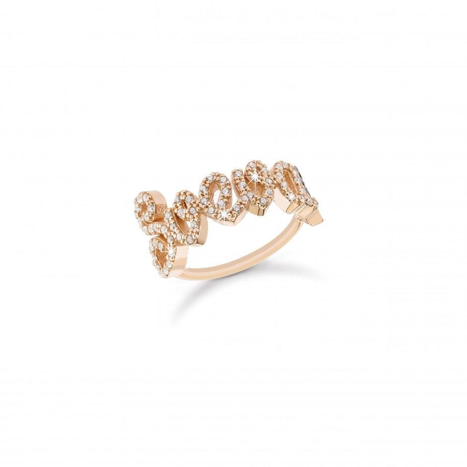 Anello con nome a filo in argento placcato oro rosa 18k