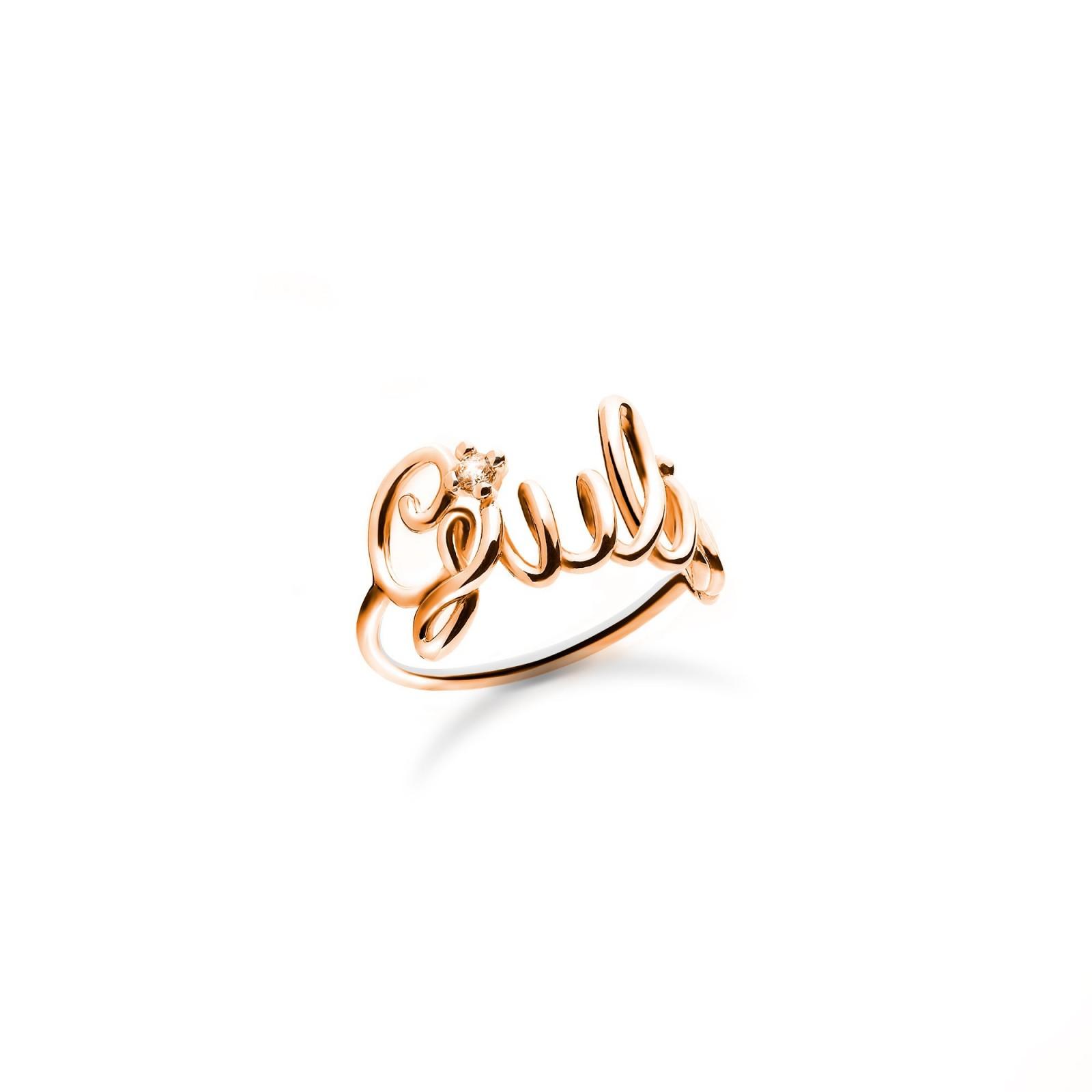 Famoso Anello con nome in argento placcato oro rosa 18k - Maison Gioielli AH06