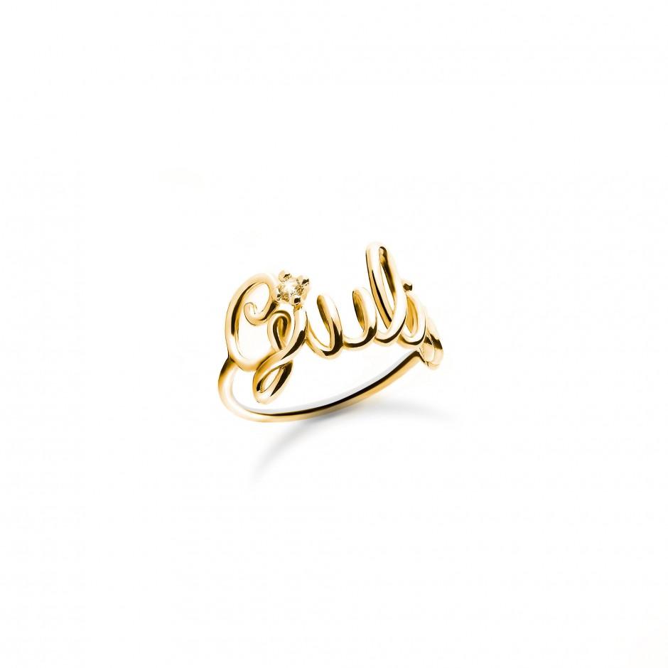 Anello con nome a filo in argento placcato oro 18k e zircone