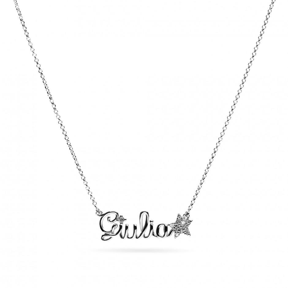 Collana nome in argento placcato oro 18k e simbolo in pavè